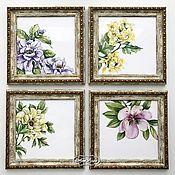 Картины и панно handmade. Livemaster - original item Painting tiles Panel collage in the kitchen 4 PCs.. Handmade.