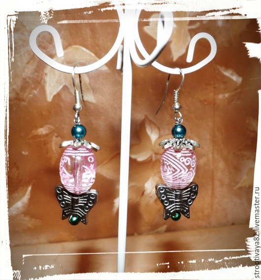 """Серьги ручной работы. Ярмарка Мастеров - ручная работа. Купить серьги """"розовые мечты"""". Handmade. Разноцветный, серьги ручной работы"""