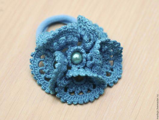 """Заколки ручной работы. Ярмарка Мастеров - ручная работа. Купить """"Кружевной голубой цветок"""". Handmade. Голубой, резинка для волос"""