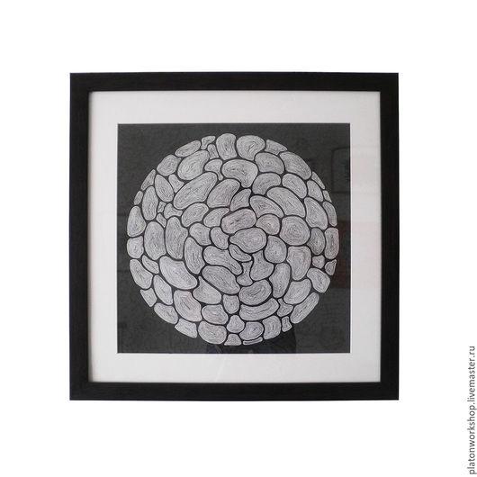 """Абстракция ручной работы. Ярмарка Мастеров - ручная работа. Купить Иллюстрация """"Разделение земли"""", бумага / тушь 42 х 42 см. Handmade."""