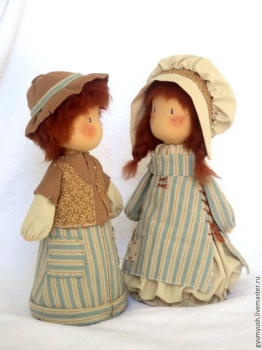 """Коллекционные куклы ручной работы. Ярмарка Мастеров - ручная работа. Купить Текстильные куколки """"Детки..""""   пара рыжих деток, голубой, в полосочку. Handmade."""