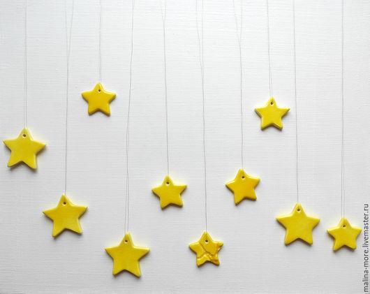 Подвески ручной работы. Ярмарка Мастеров - ручная работа. Купить Интерьерные звёзды. Handmade. Желтый, керамические украшения, для украшения интерьера