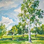 Картины и панно ручной работы. Ярмарка Мастеров - ручная работа Летний пейзаж с березкой. Handmade.