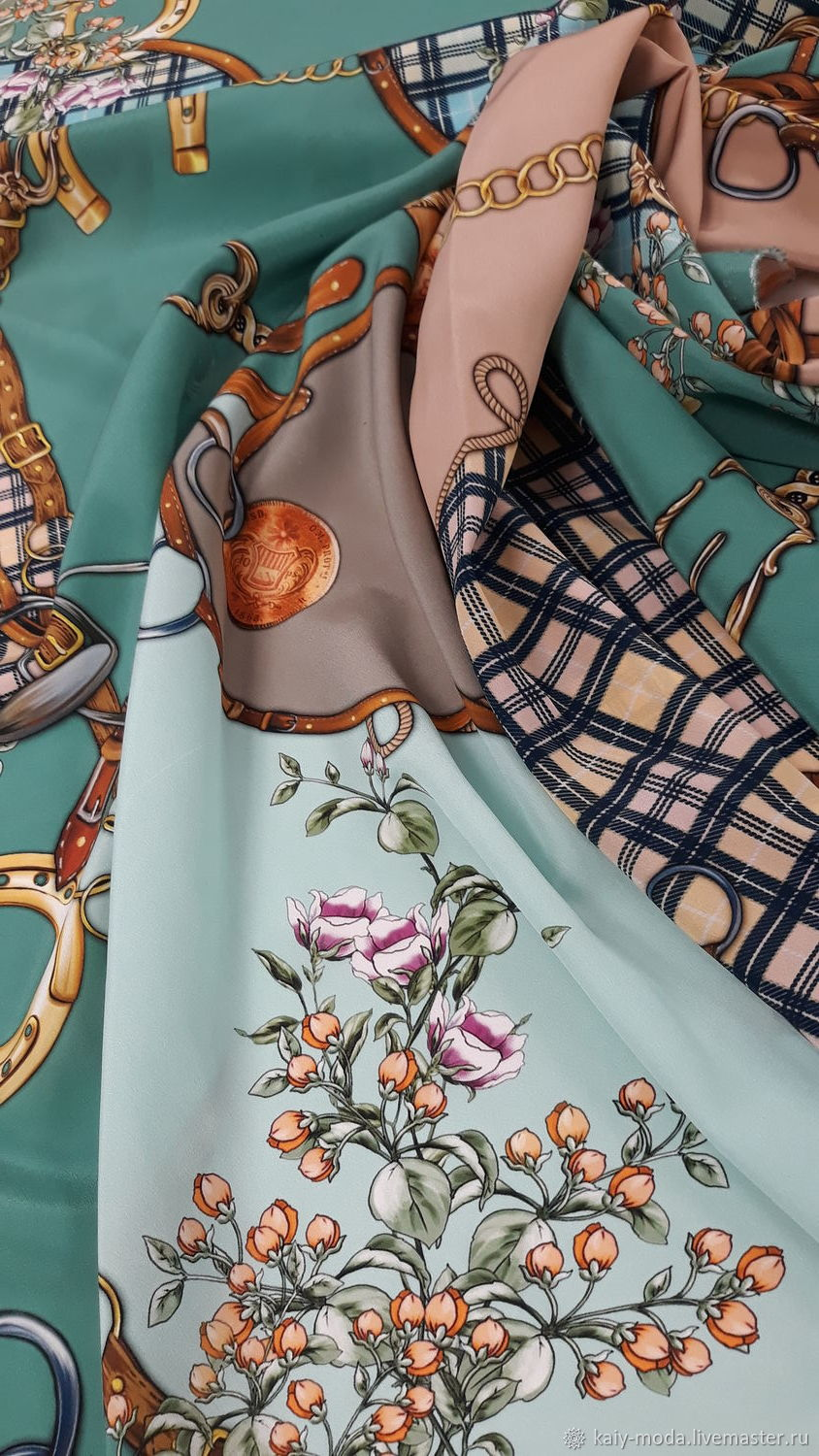 Crepe silk Gucci ' Flowers and chains', Fabric, Moscow,  Фото №1