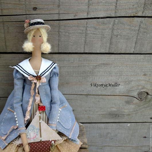 Куклы Тильды ручной работы. Ярмарка Мастеров - ручная работа. Купить кукла тильда ручной работы ДЕВОЧКА С КОРАБЛИКОМ. Handmade.