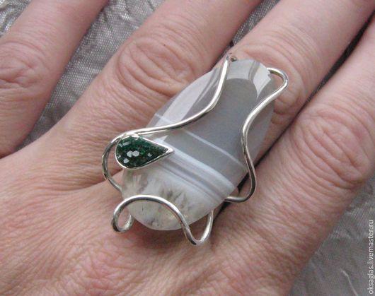 """Кольца ручной работы. Ярмарка Мастеров - ручная работа. Купить Кольцо """"Берёзка"""".. Handmade. Серый, кольцо с агатом, авторская работа"""