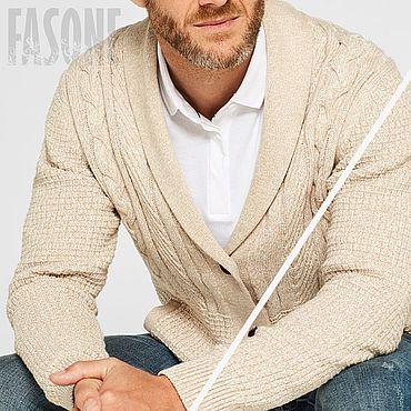 Clothing handmade. Livemaster - original item Jackets: Men`s cardigan beige cotton. Handmade.