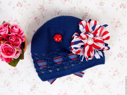 Шапки и шарфы ручной работы. Ярмарка Мастеров - ручная работа. Купить Шапка для девочки летняя. Handmade. Тёмно-синий, однотонный