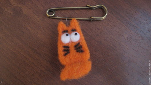 Броши ручной работы. Ярмарка Мастеров - ручная работа. Купить Весенний кот. Handmade. Рыжий, шерсть для валяния, шерсть 100%