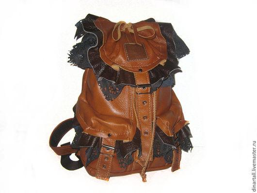 Рюкзаки ручной работы. Ярмарка Мастеров - ручная работа. Купить рюкзак рыжий с коричневыми рюшами. Handmade. Коричневый, рюкзак для девочки