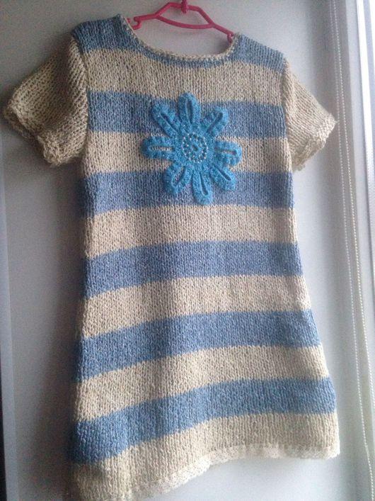 Одежда для девочек, ручной работы. Ярмарка Мастеров - ручная работа. Купить Платье Морское. Handmade. Платье летнее, платье вязаное