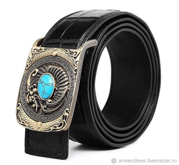 Men's belt made of crocodile, in black color, Straps, Tosno,  Фото №1