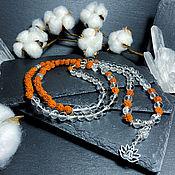 Фен-шуй и эзотерика handmade. Livemaster - original item Rosary of Rock Crystal and Rudraksha 108 b.. Handmade.