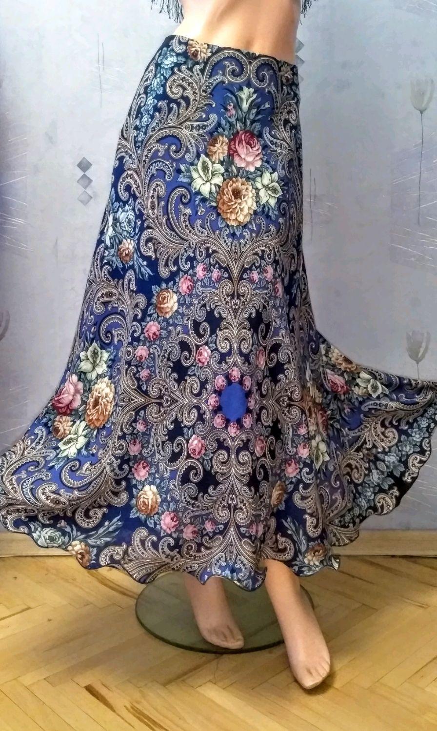Skirt pavlogoradsky scarves 'Secret heart'(blue), Skirts, Moscow,  Фото №1