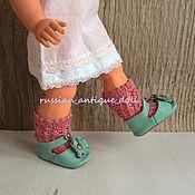 Куклы и игрушки ручной работы. Ярмарка Мастеров - ручная работа Туфли для куклы 5,5 см бледная бирюза. Handmade.