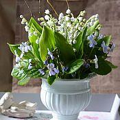 Цветы и флористика handmade. Livemaster - original item Spring bouquet of lilies of the valley and фиалок2 .Botanical sculpture from clay. Handmade.