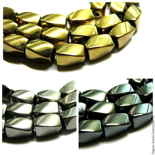 Для украшений ручной работы. Ярмарка Мастеров - ручная работа. Купить Гематит 8х6 мм, серебро, золото, черный. Handmade.