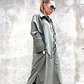 Одежда ручной работы. Ярмарка Мастеров - ручная работа Платье - рубашка  Olive Maxi Shirt. Handmade.