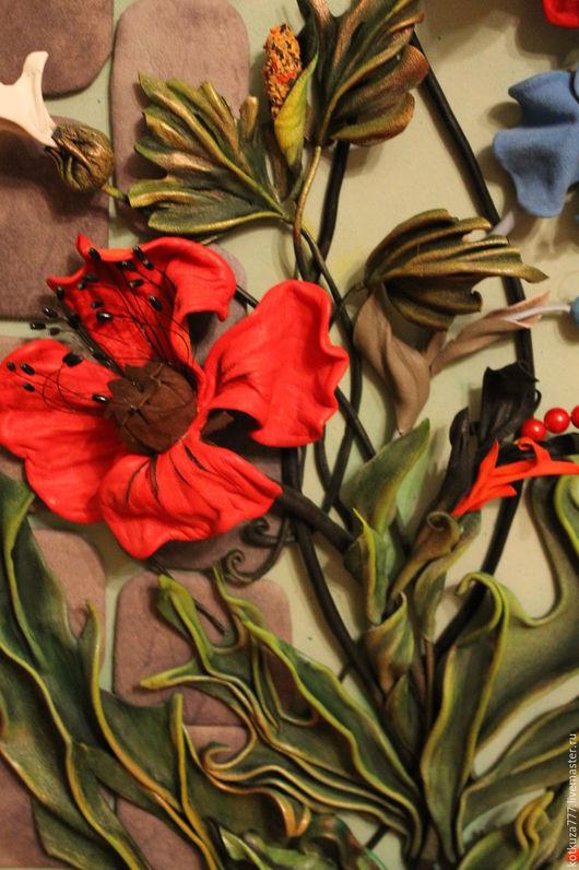 """Картины цветов ручной работы. Ярмарка Мастеров - ручная работа. Купить картина """" Маки"""". Handmade. Картина, картина из кожи"""
