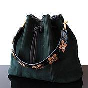 Сумки и аксессуары handmade. Livemaster - original item Genuine emerald suede Leather Shoulder Bag with Strap. Handmade.