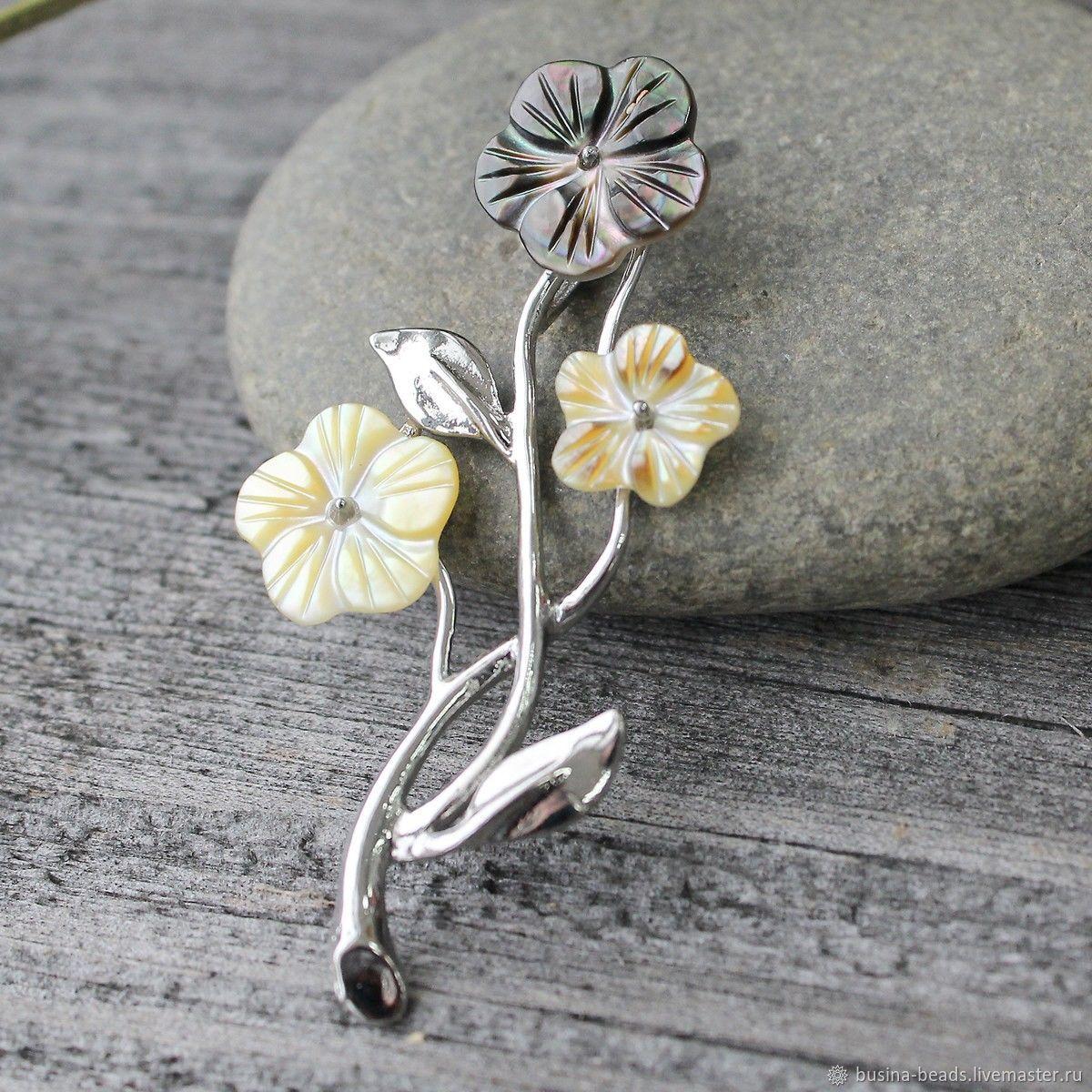 Кулон-подвеска Перламутр резные цветы