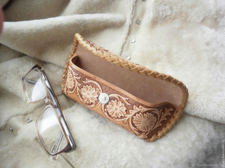 Футляр для очков кожанный очечник из кожи ручной работы