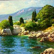Картины и панно ручной работы. Ярмарка Мастеров - ручная работа Большая картина 1,2 м на 0,9 м с побережьем моря бухта. Handmade.