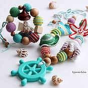 Слингобусы ручной работы. Ярмарка Мастеров - ручная работа Слингобусы и грызунок, комплект Морские глубины. Handmade.