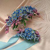 Гребень ручной работы. Ярмарка Мастеров - ручная работа Гребень в прическу «Незабудки», браслет на руку, украшение для невесты. Handmade.