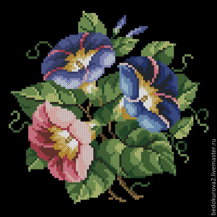 Купить Ретро схема цветы 26