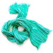 Аксессуары handmade. Livemaster - original item Linen mint scarf with green and blue hand-painted. Handmade.