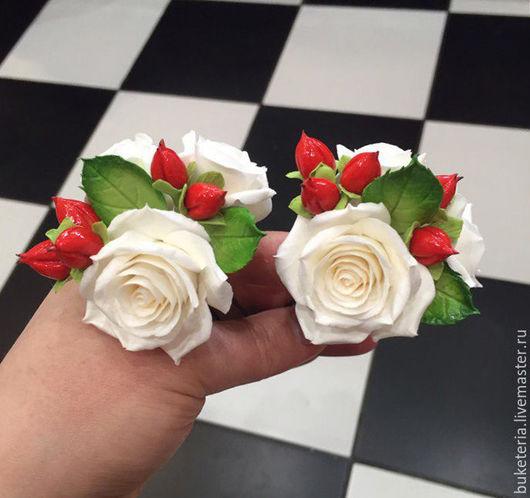 Свадебные украшения ручной работы. Ярмарка Мастеров - ручная работа. Купить Розы на шпильке для прически. Handmade. Цветы из полимерной глины