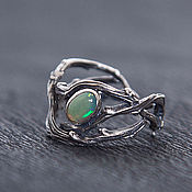 Украшения handmade. Livemaster - original item Ring thin twigs with opal. Handmade.