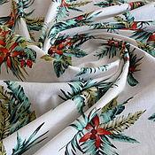 Материалы для творчества handmade. Livemaster - original item Italian linen with cotton print Tropics. Handmade.