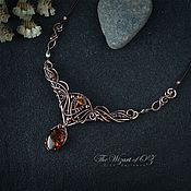 Украшения handmade. Livemaster - original item Necklace with amber and iridescent crystal beads. Handmade.