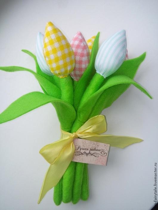 Цветы ручной работы. Ярмарка Мастеров - ручная работа. Купить Тюльпаны из ткани. Handmade. Ярко-зелёный, салатовый, цветы