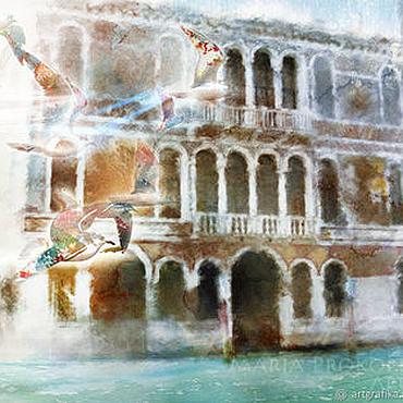 Картины и панно ручной работы. Ярмарка Мастеров - ручная работа Акварель-Птицы Венеции. Handmade.