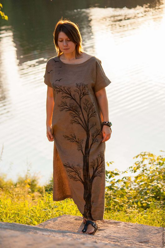 """Большие размеры ручной работы. Ярмарка Мастеров - ручная работа. Купить Длинное свободное платье """"Оригами 022 Дерево"""". Handmade."""