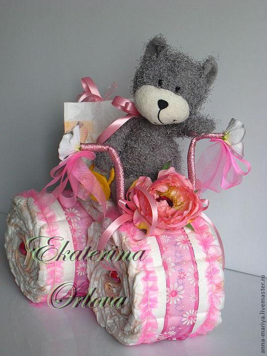 Подарки для новорожденных, ручной работы. Ярмарка Мастеров - ручная работа. Купить Велосипеды из памперсов. Handmade. Подарок новорожденному