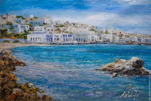 Пейзаж ручной работы. Ярмарка Мастеров - ручная работа. Купить Белое и голубое. Вспоминая Грецию. Handmade. Комбинированный, картина маслом