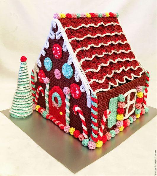 Миниатюра ручной работы. Ярмарка Мастеров - ручная работа. Купить Рождественский домик. Handmade. Коричневый, рождественский декор, вязаная игрушка