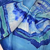 """Аксессуары ручной работы. Ярмарка Мастеров - ручная работа Шелковый платок """"Голубой агат"""" горячий батик.. Handmade."""