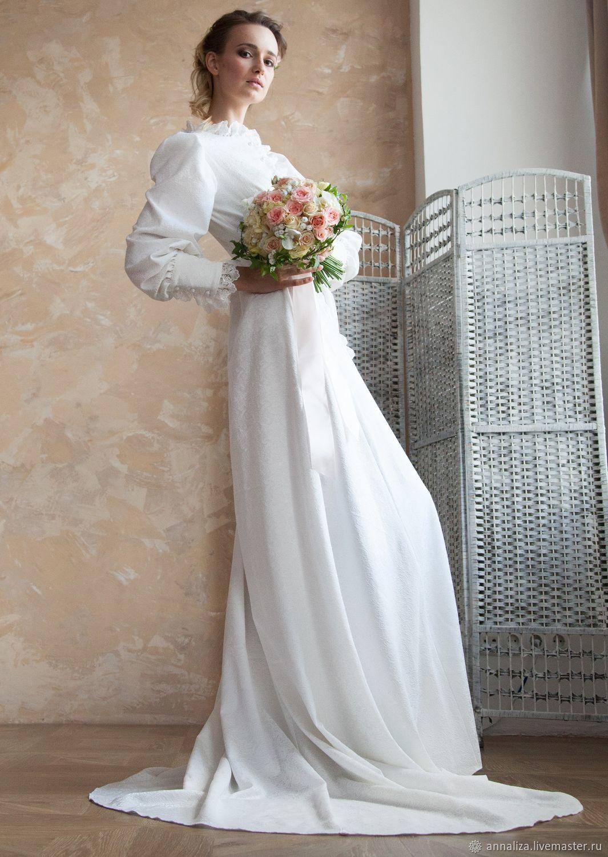 3e70ffbd75f Купить Свадебное венчальное · Одежда и аксессуары ручной работы. Свадебное венчальное  платье со шлейфом