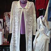 Одежда ручной работы. Ярмарка Мастеров - ручная работа кардиган ,связан крючком филейной сеткой , цвет молочный. Handmade.