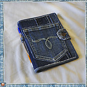 Канцелярские товары ручной работы. Ярмарка Мастеров - ручная работа Обложка джинсовая для сменного блока-4. Handmade.