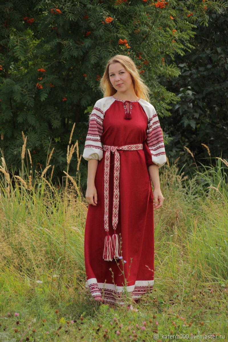 """Одежда ручной работы. Ярмарка Мастеров - ручная работа. Купить Платье """"Лада"""" бордовое. Handmade. Этно, льняное платье, вискоза"""