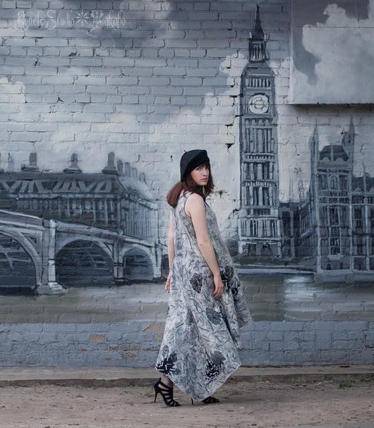 Платья ручной работы. Ярмарка Мастеров - ручная работа. Купить Платье длинное из войлока на шелке. Handmade. Разноцветный, классика, зебра