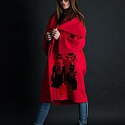 Одежда handmade. Livemaster - original item Cashmere coat with print, Red coat-CT0438CA. Handmade.