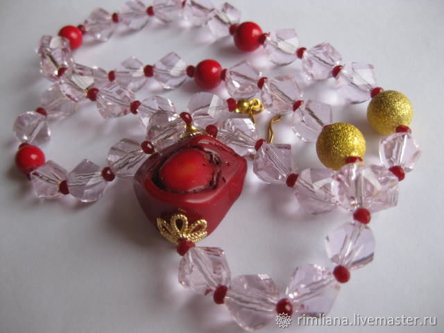 Necklace-beads and bracelet 'Red in pink' coral Crystal, Jewelry Sets, Moscow,  Фото №1