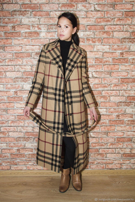 ручной работы. Ярмарка Мастеров - ручная работа. Купить Женское длинное пальто  burberry в клетку ... b0bc9ad202572